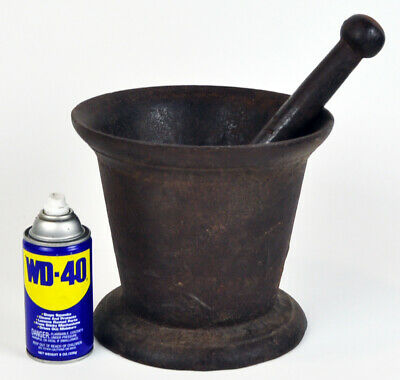 Rare Huge Antique Cast Iron Mortar & Pestle Assay Gold Mining GIANT Miner Ore