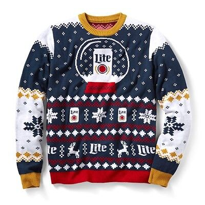 New Miller Lite Beer Ugly Christmas Long Sleeve Holiday Sweater Size XL