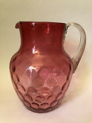 Antique Ruby Inverted Thumbprint / Coin Dot / Coin Spot Ruby Glass Pitcher
