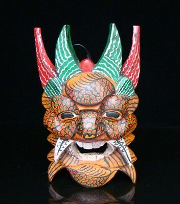 260mm Handmade Carving Statue Painting colored drawing wood Mask Deco Art