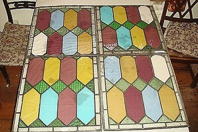 Four 19th Century Stained Glass Windows,Victorian,Antique,Leaded Glass 1