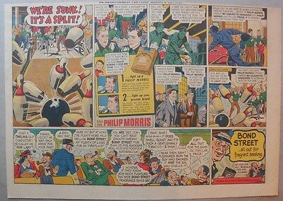 """Phillip Morris Cigarette Ad: """"Bowling"""" from 1930's - 1950's Size: 11 x 15 inches"""