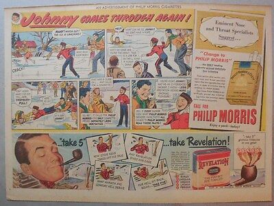 """Phillip Morris Cigarette Ad: """"Skating Rescue"""" from 1940's Size: 11 x 15 inches"""