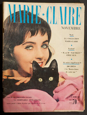 'marie-Claire' French Vintage Magazine Millie Perkins Cover November 1958