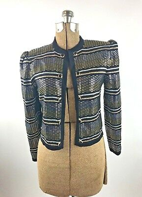 St John Marie Gray Cardigan Knit Metallic Gold Silver Tone Button Front Evening