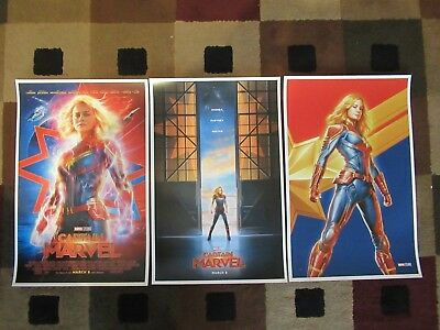 "Captain Marvel  (11"" x 17"") Movie Collector's Poster Prints ( Set of 3 )"