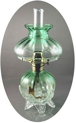 RARE Antique Green Optic-Molded Art Glass Miniature Oil Lamp, S2-495