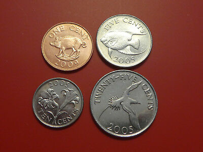 Bermuda 4 Coins set , Cent 2009, 5 Cents ,10 Cents, 25 Cents 2009, Animals , XF