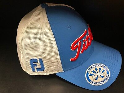 Titleist Tour Sport Mesh Fitted Hat Cap Blue /white*Moisture Wicking Fabric*