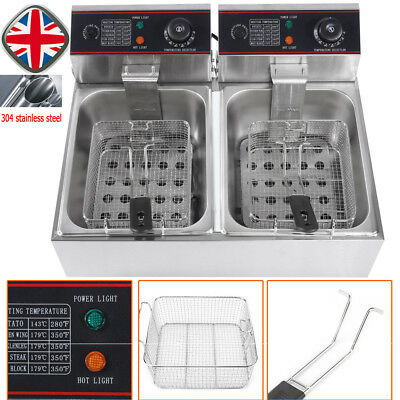 Large Commercial Fryer Electric Twin Basket 5000W Double Tank Fish Chips UK Plug