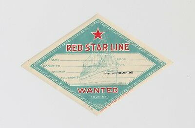 vintage original 1932 ~ RED STAR LINE ~ Wanted luggage label tag ~ Southampton