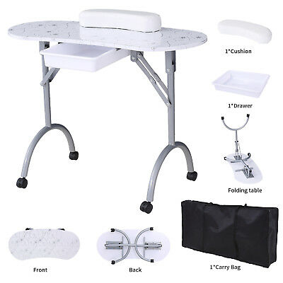 Professional Portable Foldable Manicure Table Nail Beauty Mobile Desk White