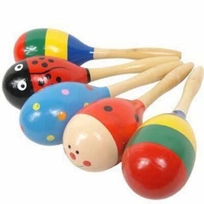 Colorful Wooden Hammer Cartoon Sand Ball Knock Wooden Bell Educational Toys H4