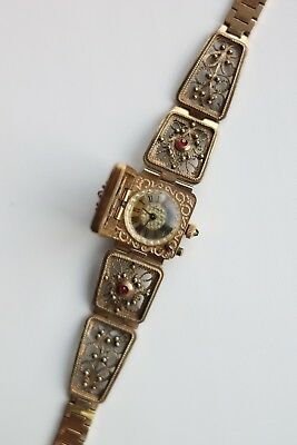 Yanka Russian Watch Bracelet Chaika mechanical Filigree windup ruby 939