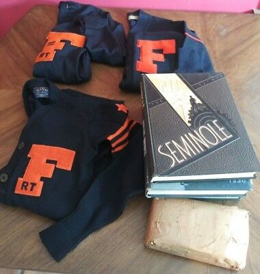 Vintage University of Florida 1930's 40's Varsity Sweater and Yearbook Lot Rare