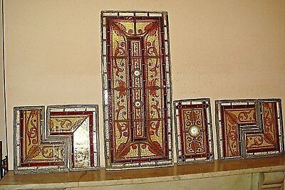 19th Century Stained Glass,Painted Vestibule,Door Windows,Victorian,Antique