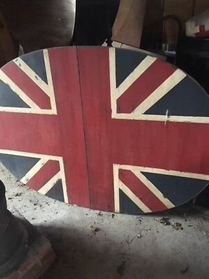 Vintage Antique Oval Hand Painted Union Jack Table top