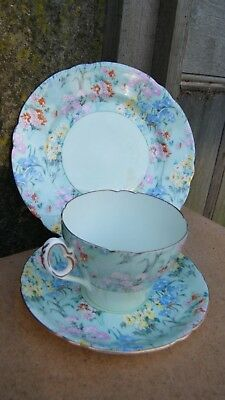 ONE SHELLEY MELODY CHINTZ TRIO of CUP SAUCER and TEA PLATE ART DECO c.1937