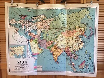 1959 Vintage Philip & Son School Map Denoyer Geppert ASIA Linen Backed Folding
