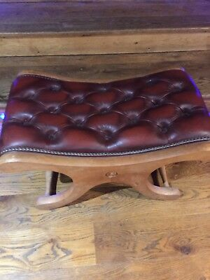 Ox Blood Red Victorian Style Real Leather Deep Buttoned Chesterfield Foot Stool