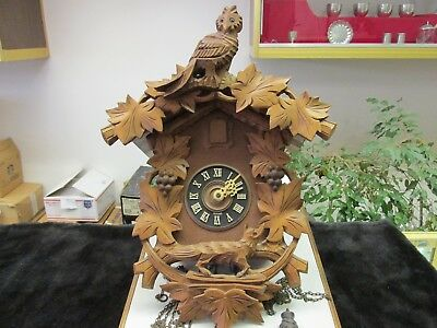 Vintage Black Forest Cuckoo Clock Made In Germany Needs Work Look Great WOLF OWL