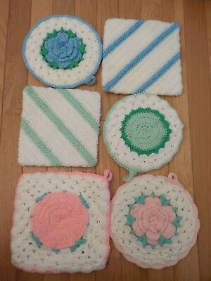 Lot of  6 Six Crochet Pot Holders: Green, Pink, Blue, Square, Round, Flowers