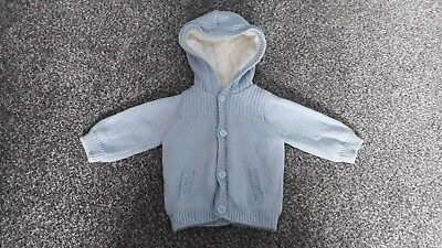 Fur lined woollen pale blue hooded cardigan 0-3 Months