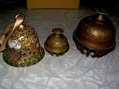 LOT OF 3 Brass Bells (2 Vintage) Small bell has no ringer