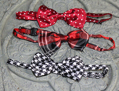 728b55754a28 3 pc LOT Chistmas Boys infant toddler child bow tie kids red plaid boy