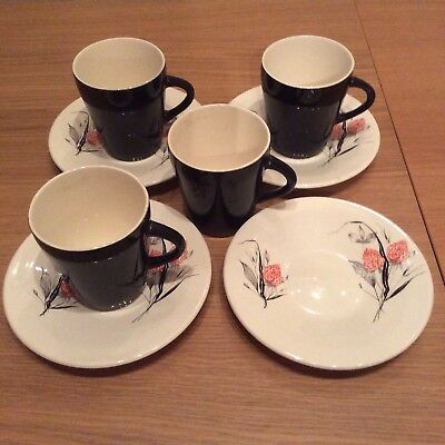 Palissy Red Clover Coffee Set 1950s Midwinter, Meakin, Homemaker