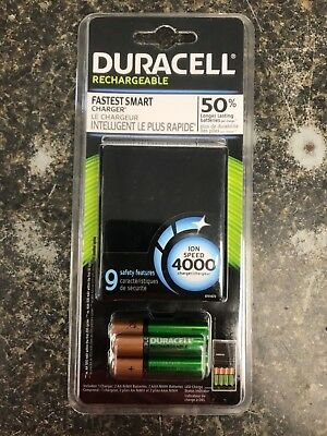 Duracell ION SPEED 4000 Hi-Performance Charger, Includes 2 AA and 2 AAA NiMH ...