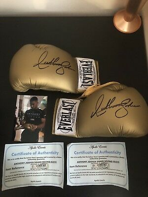 Anthony Joshua Signed Pair of Boxing Gloves With COA Gold