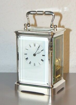 JAPY FRERES 8 day Victorian (1867) carriage clock. France. 8 day. Silver p. case
