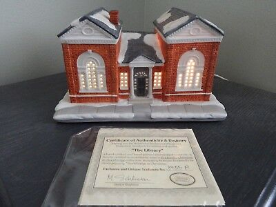 "Hawthorne Village Christmas Norman Rockwell ""The Library"" Christmas House w COA"