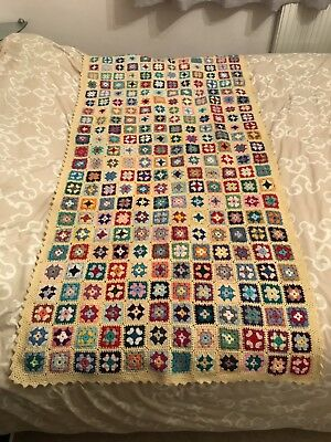 Hand Made In Wales Knitted Welsh Woolen Quilt Crochet Blanket Wool Granny Square