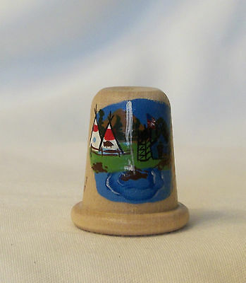 Wood Thimble Hand Painted with Tepee Scene Signed by Artist
