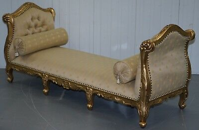 Large 3-4 Seater Victorian Gold Leaf Painted French Day Bed Chaise Lounge Sofa