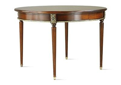 Rrp £7500 Laval Mahogany & Brass Verlet France Extending Table Seats Four To Six