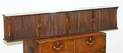 Rare Tambour Fronted Long Single Book Shelf, Desk / Table Top Or Wall Mounted