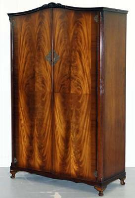 Beautiful Mid Century Flamed Mahogany Wood N Norman London Large Wardrobe