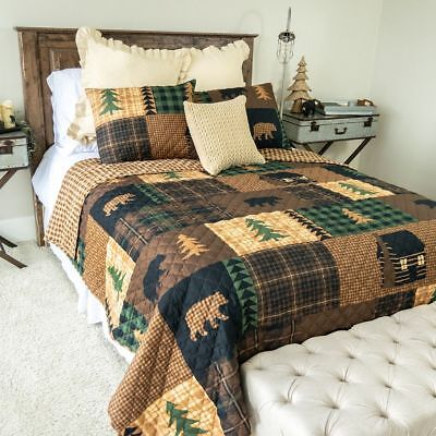 Donna Sharp Brown Bear Cabin Quilted Country Reversible King 3-Piece Bed Set
