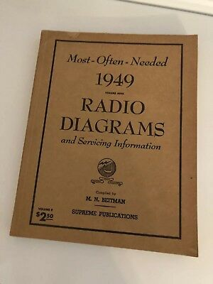 Most Often Needed RADIO DIAGRAMS & Servicing Vintage 1949 Beitman/Supreme Tubes