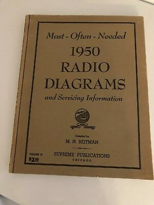 Most Often Needed RADIO DIAGRAMS & Servicing Vintage 1950 Beitman/Supreme Tubes