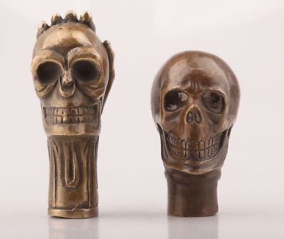 2 Chinese Bronze Unique Hand-Carved Skull Statue Crutch Head Antique Collection