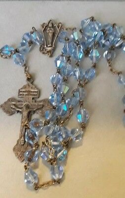 """+Old Ornate Vintage Faceted Blue AB Crystal Catholic Antique Rosary 55 Beads 23"""""""