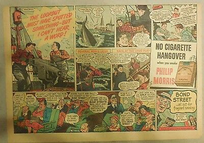 """Phillip Morris Cigarette Ad: """"Whaling"""" from 1940's Size: 11 x 15 inches"""