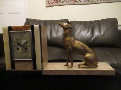 Beautiful Art Deco Clock with modelled dog ornamentation by A Hebert Cherbourg.