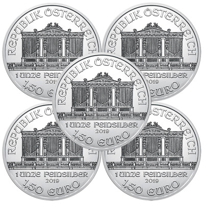 Lot of 5 - 2019 1.50 Euro Silver Austrian Philharmonic 1 oz Brilliant Uncirculat