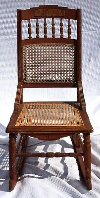 Antique American Victorian Eastlake Walnut & Cane Spindled Nursing Rocking Chair