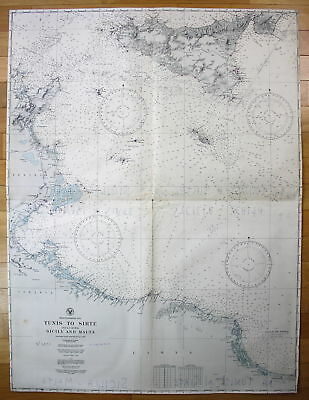 1930 Mediterranean Sea Tunis to Sirte Sicily and Malta Sizilien Tunisia map